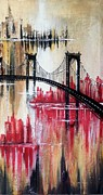 Brooklyn Bridge Painting Prints - 3 times New York Print by Jose Luis Reyes