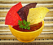 Chips Prints - Tortilla chips and salsa Print by Elena Elisseeva