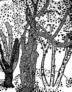 Fern Drawings - 3 Trees Tree Cubed Tree Four Tree Cubed Black White by Lois Picasso