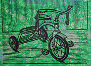 Linocut Linoluem Drawings Framed Prints - Tricycle Framed Print by William Cauthern