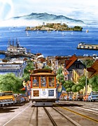 Hyper Painting Posters - Trolley Of San Francisco Poster by John YATO