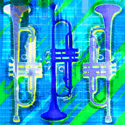Trumpet Digital Art Posters - 3 Trumpets Abstract Poster by David G Paul