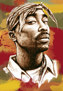 Worldwide Art Prints - Tupac Shakur long stylised drawing art poster Print by Kim Wang