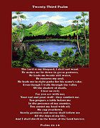 Landscape Mountain Trees Fisherman Art - Twin Ponds and 23 Psalm on Red by Barbara Griffin