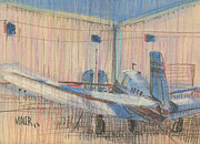 Private Pastels Prints - Two Planes Print by Donald Maier