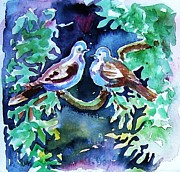 Christmas Greeting Originals - Two Turtle  Doves by Trudi Doyle