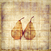 Fruit Still Life Framed Prints - Two Yellow Pears on Folded Linen  Framed Print by Carol Leigh