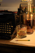 Journalism Prints - Typewriter and Whiskey Print by Jill Battaglia