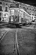 Typical Framed Prints - Typical Lisbon tram in Commerce Square Framed Print by Lusoimages