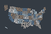States Posters - United States Text Map Poster by Michael Tompsett