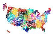 United States Typography Text Map Print by Michael Tompsett