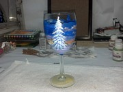 Painted Wine Glass Glass Art - Untitled by Dan Olszewski