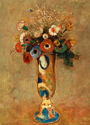 Flower Still Life Posters - Vase of Flowers Poster by Odilon Redon