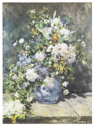 Blue Vase Painting Posters - Vase of Flowers Poster by Pierre-Auguste Renoir