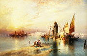 Boats On Water Posters - Venice Poster by Thomas Moran