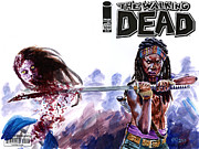 Television Painting Posters - Walking Dead Michonne Poster by Ken Meyer jr