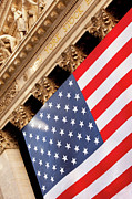 Stock Trading Prints - Wall Street Flag Print by Brian Jannsen