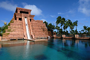 Travel Destination Posters - Water Slide at the Mayan Temple Atlantis Resort Poster by Amy Cicconi