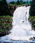 Visual Impresson Posters - Waterfalls at Rock Canyon Poster by Gail Matthews