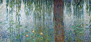 Willows Posters - Waterlilies Morning with Weeping Willows Poster by Claude Monet