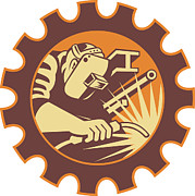 Gear Metal Prints - Welder Worker Welding Torch Retro Metal Print by Aloysius Patrimonio