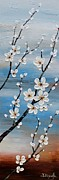 Cherry Blossoms Painting Prints - White Blossoms Print by Tomoko Koyama