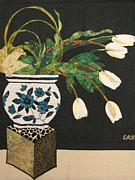Art Quilts Tapestries Textiles Tapestries - Textiles - White Tulips by Lynda K Boardman