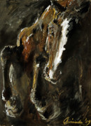 Horse Jumping Paintings - Wild heart by Angel  Tarantella