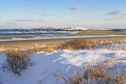 New England Snow Scene Metal Prints - Winter at Popham Beach State Park Maine Metal Print by Keith Webber Jr