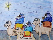 Camel Drawings - 3 Wise Men by Bruce Semon