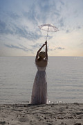 Parasol Framed Prints - Woman At The Beach Framed Print by Joana Kruse