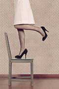 Stilettos Framed Prints - Woman On Chair Framed Print by Joana Kruse