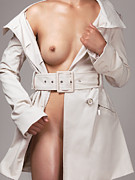 Half Body Framed Prints - Woman Wearing Trench Coat over Naked Body Framed Print by Oleksiy Maksymenko