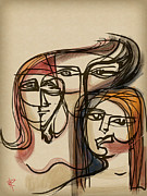 Brunette Mixed Media Prints - 3 Women Print by Russell Pierce
