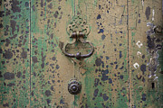 Doorknob Prints - Wooden door Print by Bernard Jaubert