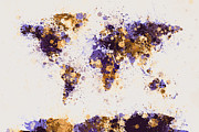 Country Posters - World Map Paint Splashes Poster by Michael Tompsett