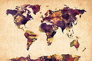 Grunge Digital Art Posters - World Map Watercolor Poster by Michael Tompsett