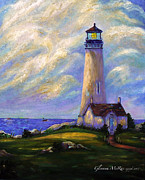 Golds Painting Posters - Yaquina Head Lighthouse Oregon Poster by Glenna McRae