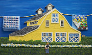 Blue Sculpture Prints - Yellow Barn Print by Anne Klar