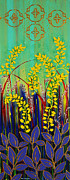 Debbie Chamberlin Posters - Yellow Flowers Poster by Debbie Chamberlin