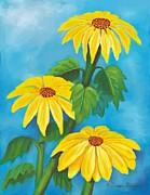 Yellow Flowers Stretched Prints Framed Prints - 3 Yellow Flowers Framed Print by Dessie Durham