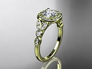 Leaf Engagement Ring Jewelry - Yellow Gold Diamond Leaf And Vine Wedding Ring Engagement Ring by Anjays Designs