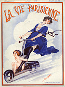 Scooters Drawings Posters - 1920s France La Vie Parisienne Magazine Poster by The Advertising Archives