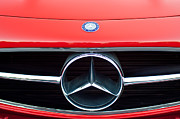 Classic Car Photography Posters - 300 Mercedes-Benz SL Roadster Hood Emblem Poster by Jill Reger