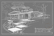 Mid Century Design Drawings Posters - 301 Cypress Drive - charcoal Poster by Larry Hunter