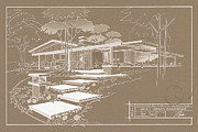 Mid Century Design Drawings Posters - 301 Cypress Drive - Sepia Poster by Larry Hunter
