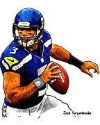 Sports Nfl Art Sketch Drawings Nfl Art Nfl Artwork Nfl Drawings Nfl Sketches Seattle Seahawksseattle Seahawks Russell Wilson Posters - 302 Poster by Jack Kurzenknabe