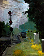 Railroads Paintings - 308 Cloudy with a Chance of Rain by Charlie Spear