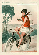 Bicycle Drawings - 1920s France La Vie Parisienne Magazine by The Advertising Archives