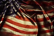 Rippled Prints - American flag  Print by Les Cunliffe